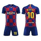 Suzada Camiseta Jersey Futbol Barcelona 2018-2019 Traje de niños Manga Corta + Pantalones Cortos,No. 10 Messi Football Sportswear (T22, Modelo 1)