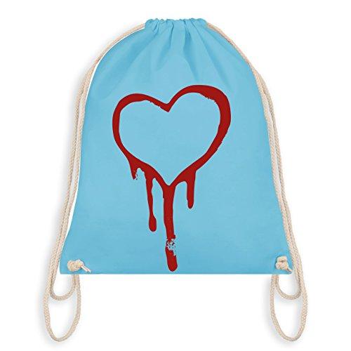 Shirtracer Symbole - Blutendes Herz - bloody heart - Unisize - Hellblau - WM110 - Turnbeutel I Gym Bag (Blutendes Herz)