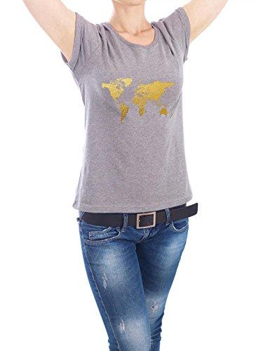 """Design T-Shirt Frauen Earth Positive """"World Map Gold on Burgandy"""" in Grau Größe XL - stylisches Shirt Kartografie Reise von Michael Tompsett"""