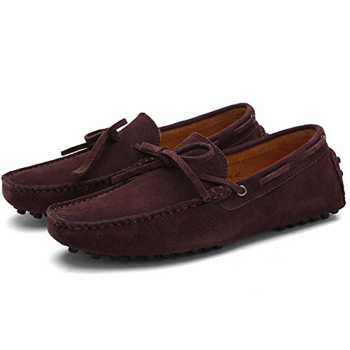 Herren Klassische Slip-on Wildleder Loafers Fahren Halbschuhe Mokassin Lederschuhe Bootsschuhe Kaffee