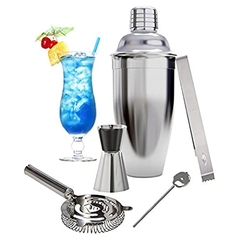 Premium 5 Piece Cocktail Set INKERSCOOP With Stainless Steel Boston Shaker Cobbler Shaker,Bar Measures,Stirre, Strainer,Ice Tongs