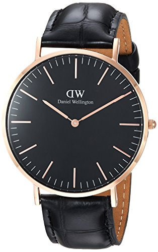 Daniel Wellington DW00100129 - Relojes en acero inoxidable con correa de piel, Unisex, color negro