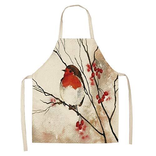 YWCXMY-LDL Vogel Blumendruck Küchenschürze weibliche Reinigungszubehör Baumwolle Leinen Kochschürze 53 * 65 cm (Color : RR01) -
