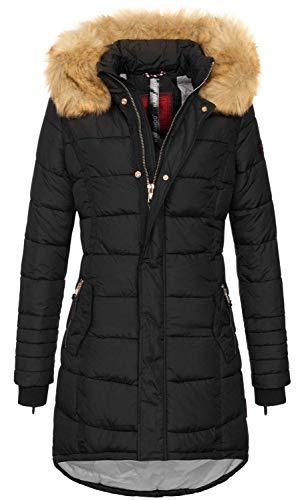 Navahoo Papaya Damen Winter Jacke Steppjacke Mantel Parka gesteppt warm B374 (XL, Schwarz)