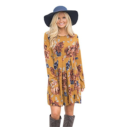 Vruan Frauen Casual Kleid Blumendruck Langarm A-Linie Kleider 6 Farbe Größe 34-42