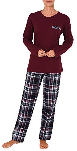 NORMANN WÄSCHEFABRIK Damen Flanell Pyjama Mix & Match - Top Single Jersey, Hose Flanell auch in Übergrößen - 281 201 90 246, Farbe:rot, Größe2:60/62 -