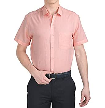 McHenry Mens Solid Formal Regular Fit Half Sleeves Pink Linen Cotton Shirt(HLCMAROON-39_Size:39_Color:Pink)