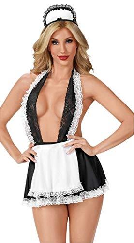 YeeHoo Sexy Minirock Ouvert mit BHS Set Babydoll Nachtwäsche Neckholder Tiefer V-Ausschnitt Cosplay Schulmädchen Kostüm Kleid Dessous Halloween - Frauen Verspielt Krankenschwester Kostüm