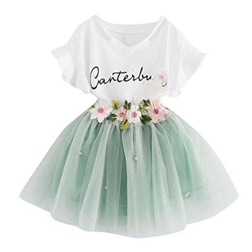Sonnena vestido Niña vestido,Sonnena impresión tops blanco de manga corta camiseta + lindo rosa tutú falda de gasa para chica bebé estilo elegante y casual (7 años, VERDE)