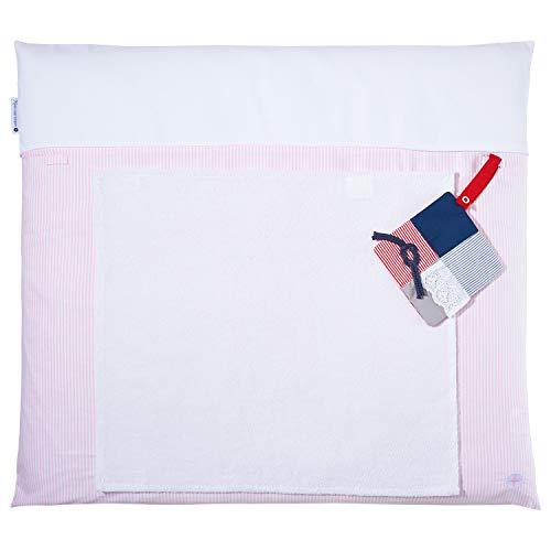 Wickeltischauflage Rosa von nordic coast | Wickelauflage 70x80 cm mit waschbaren Wickelunterlage Bezug | Inkl. Frottee Handtuch | Tolles Taufgeschenk