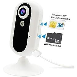 3G Cámara de vigilancia, JPSTKER Cámara de Interior Seguridad móvil con Video en Vivo/Visión Nocturna/De Dos vías Audio/Movimiento/Detección de Sonido/Monitoreo de Mascotas.