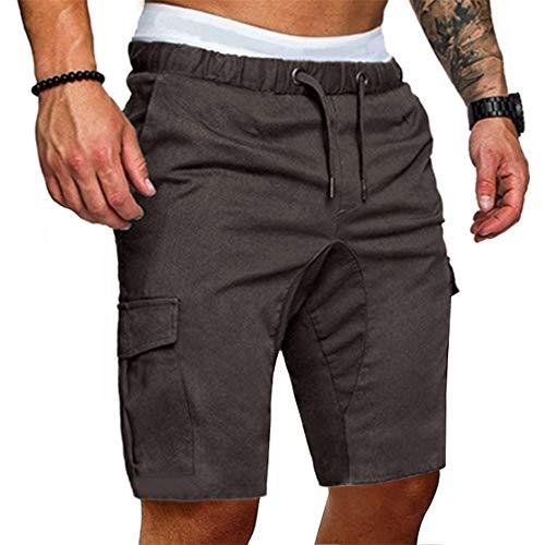 Aiserkly Herren Jogginghose Lässige Elastische Feste Baggy Pockets Drawstring Hose Cargo Kurze Arbeitshose - Cord-bundfalten-shorts