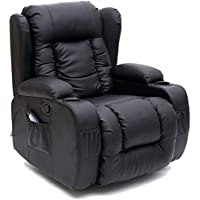 More4Homes (tm) CAESAR 10 IN 1 WINGED RECLINER CHAIR ROCKING MASSAGE SWIVEL HEATED GAMING BONDED LEATHER ARMCHAIR (Black)