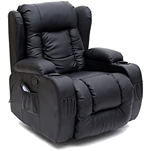 CAESAR 10 IN 1 WINGED LEATHER RECLINER CHAIR ROCKING MASSAGE SWIVEL HEATED GAMING ARMCHAIR (Black)