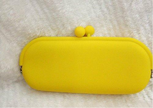 Uuouu silicone frizione in silicone–Astuccio per cosmetici occhiali box per donne Yellow