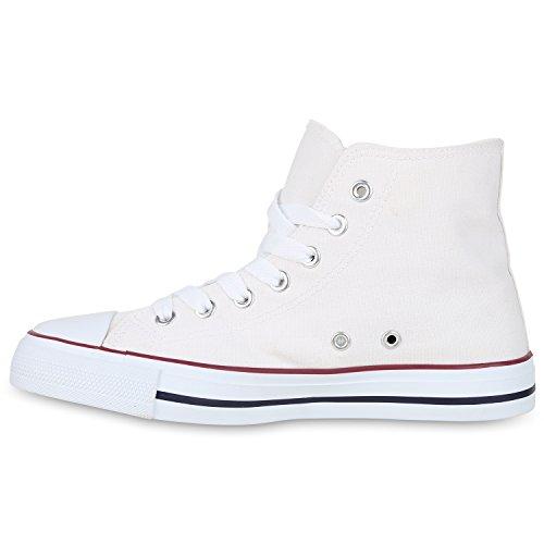 Sneakers High Damen Schuhe Canvas Turnschuhe Sportschuhe Weiss Rot
