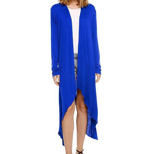 WSLCN Femme Longue Ouvert Cardigan Manteau Gilet Top Asymétrique en Tricot Manches Longues Bleu