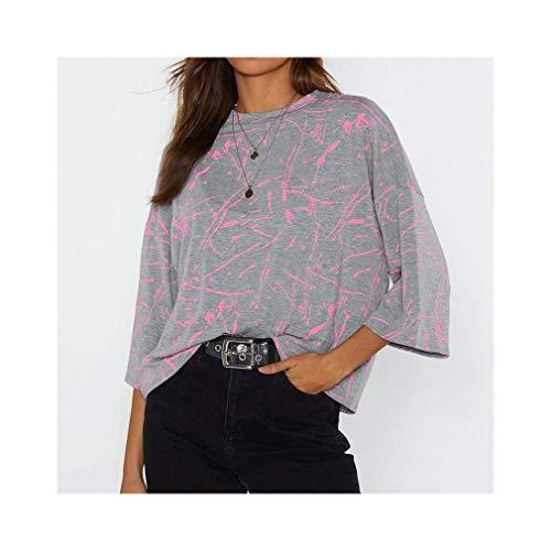 Printed T Shirt Women Batwing Short Sleeve Striped Casual Tunic O-Neck Tops - Burnt Orange Damen Tank Top