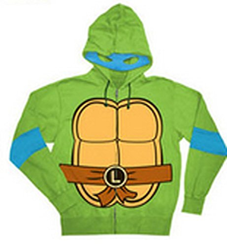 Turtle Leonardo Kostüm - Teenage Mutant Ninja Turtles Leonardo Kostüm Erwachsene Hooded Sweatshirt (Large)
