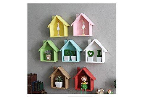 Vorhang-track-teile (Beauqueen Kreativ Kinder Kindergarten Schlafzimmer Dekoration Wand hängen Regal 6 Farbe , wood color)