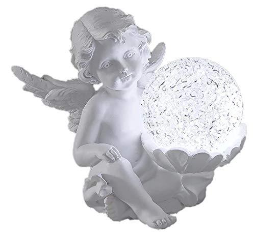 dekojohnson Grab-Engel als Grabverzierung mit Einer LED Beleuchteten Dekokugel 12 cm | inkl Geschenkkarte