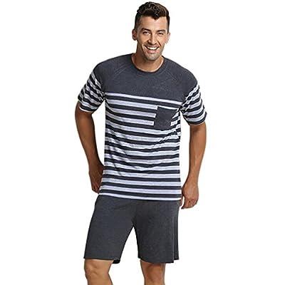 LvRao Pijamas Suaves Amantes Respirables Verano Conjuntos Ropa Pijama De Dormir Manga Corta Gris Para Hombres M
