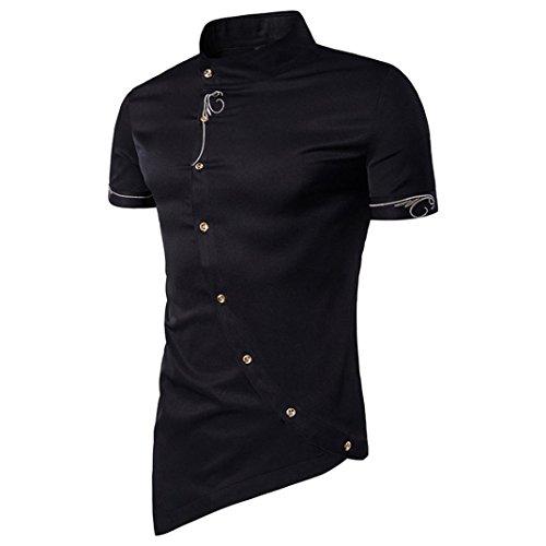 VEMOW Sommer Männer Casual Täglichen Business Button Hemd Schräge Taste Stehkragen Männer Smoking Shirts Pullover(Schwarz, EU-54/CN-M)