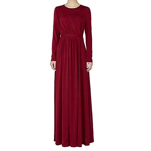 Ingsist Frauen Wein Party Muslim Langarm-Kleid