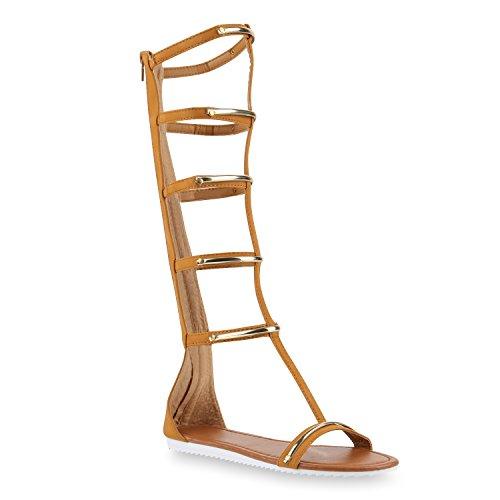 Damen Sandalen Romersandalen Fransen Sommer Zehentrenner Sandale Schaftsandalen Sandalen Stiefel Schuhe 143943 Hellbraun Gold 39 Flandell® (Damen-gold-sandalen)