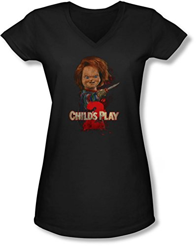 e Frauen Heres Chucky V-Neck T-Shirt, XX-Large, Black (Chucky-shirt Für Kinder)