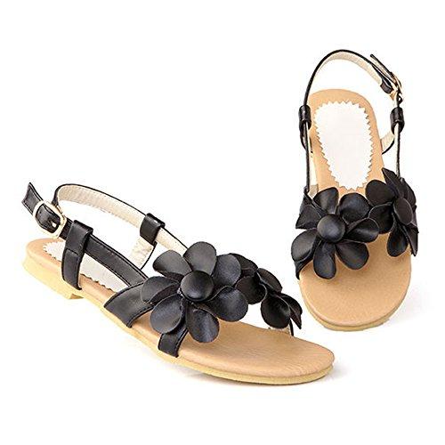 Sandales femmes été fleuris chaussures de plage talons plat confortable Noir
