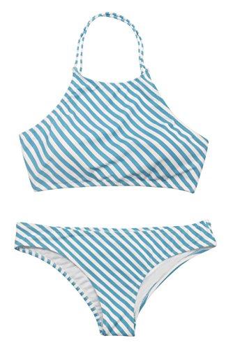 SHEKINI Damen Neckholder Push Up Sport Streifen Bikini Set Bandeau Strandmode Bademode Badeanzug Zweiteilige Gepolstert Strandkleidung Split (Medium, Blau-weiß Streifen) (Baumwolle-pflege-sport-bh)