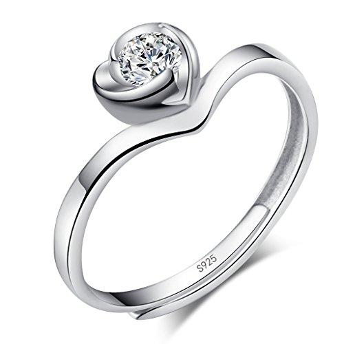 Unendlich U Klassik Kubik Zirkonia Herz 925 Sterling Silber Damen Einstellbar Ring in Gr. 50 (15.9)