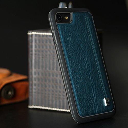"""Coque iPhone 7, Pierre Cardin cousu véritable vache cuir arrière Housse étui pour Apple iPhone 7(4.7"""") (2016)-saphir Lac bleu"""