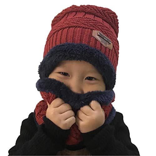 heekpek Niños Sombrero Caliente de Punto y Bufanda tubular con Forro de  Lana 85e1b0c0626