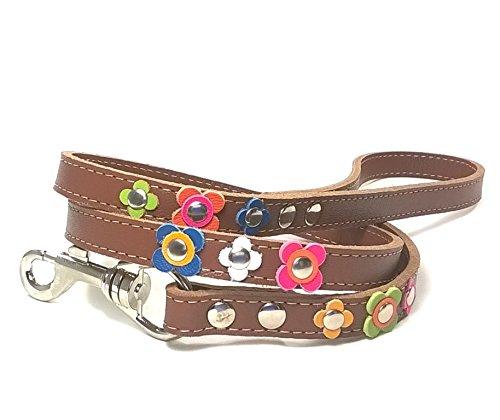 Superpipapo Leder Hundeleine - Braun Leder - Fröhliche Hundeleine mit Farbigen Blumen