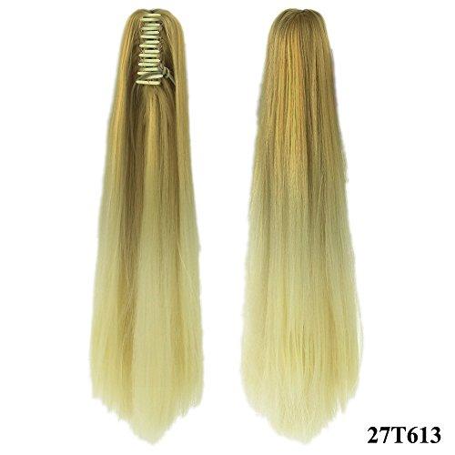 Quibine 2 Tone Ombre 60cm Longue Droites Cheveux Extensions Clip Pince à Griffes Perruques Queue de Cheval Postiches, ()