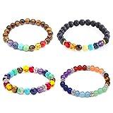 EQLEF Chakra-Armbänder Lavastein und Tigerauge Naturstein-Armbänder 7 Chakra-Perlen für Yoga-Meditation (4 Stück)