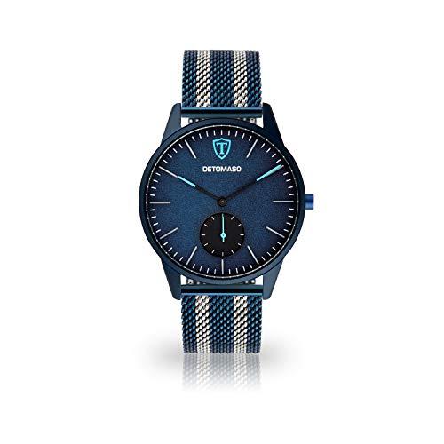 DETOMASO LAMPIONE Herren-Armbanduhr mit Super-LumiNova Pigmenten Quarz Analog blaues Edelstahlgehäuse blaues Zifferblatt Leder Mesh - Jetzt mit 5 Jahre Herstellergarantie (Milanaise - Silber/Blau)