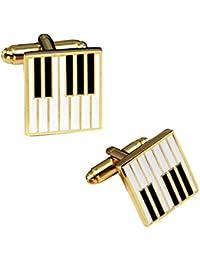 The Jewelbox® Piano Music Black & White Gold Cufflink Office Formal Wedding Shirt Blazer Cufflink Pair Men Branded Gift Box