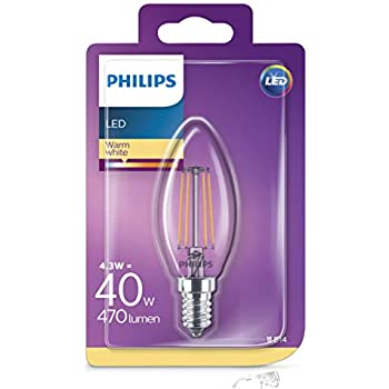Philips 8718696587355 Bombilla LED Vela E14, 4 W, Transparente