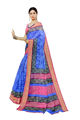 Apple Blossom Organza Silk Saree with blouse latest collection (Blue)