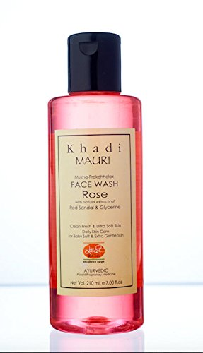 Khadi Rose Herbal Face Wash- 210 ml - Gentle & Soft Skin Care - Enriched with Red Sandal & Rose