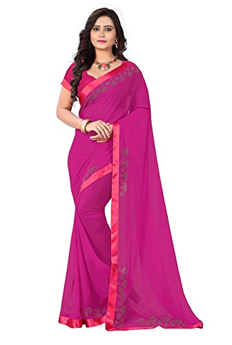 Sunshine Fashion Women's Georgette & GeorgetteSaree With Blouse Piece (Pink_FREESIZE)