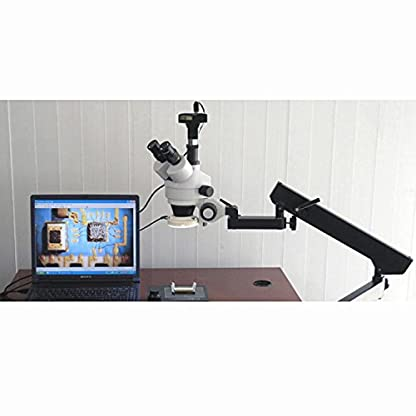 3.5X-90X Articulating Trinocular Zoom Microscope with Ring Light