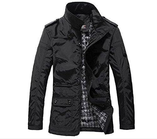 Meloo Jacke Herren Mäntel Stilvolle Windbreaker Steppjacke Reißverschluss Winterjacke Wintermantel Parka Outwear Oberbekleidung Schwarz Khaki (XXXL, Schwarz)