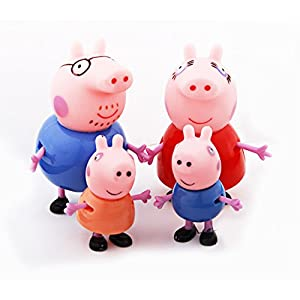iDream Pig Family PVC Toy Set Action Figure Cute Gifts for Kids (Set of 4pcs)