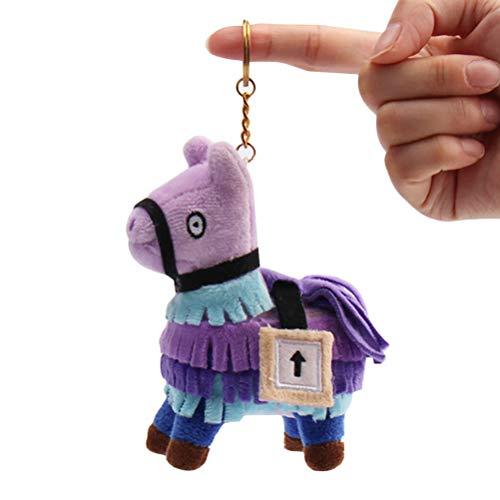 (10cm Nette Festungsnachtplüsch gefülltes Alpaka Keychain, purpurrote Llama Abbildung Spielzeug Puppe hängende Verzierung für Kinder Mädchen Jungen Weihnachtsgeburtstagsgeschenk)
