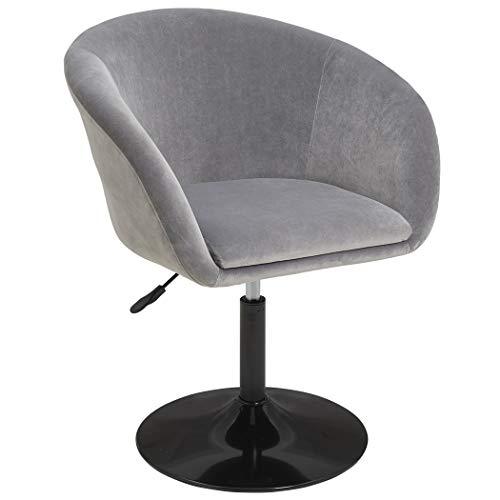 Duhome Sessel Grau Stoff Samt höhenverstellbar Esszimmerstuhl Clubsessel Coctailsessel Loungesessel Typ 440