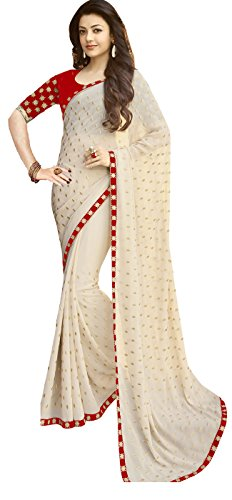 Aika Fashion Georgette Saree (S011-Red-Velvet-0_Red)